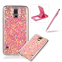 Rubber TPU Case For Samsung Galaxy S5,Herzzer Ultra Thin Slim Lightweight Color Changing Glittering Luxury Unique [Pink Sequins] Bling Bling Shiny Sparkle Soft Silicone Gel Clear Bumper Frame Cover for Samsung Galaxy S5 + 1 x Free Pink Cellphone Kickstand