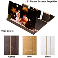 FeiliandaJJ 3D Phone Screen Magnifier 12 Inch Desktop Wood Bracket Portable Stereoscopic Amplifying Suitable for Indoor, Camping, Tourism, Leisure and Other Places. (Kaffee)