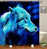 chenyuuu Fantasy Cute Blue Wolf Anime Duschvorhang, Wasserdicht, Schnell Trocknend, Lichtecht, Leicht Zu Reinigen, 12 Haken. 180X180Cm
