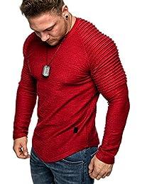Amaci&Sons Oversize Vintage Herren Pullover Biker-Style Hoodie Sweatshirt Crew-Neck 6069