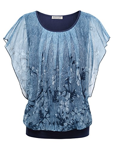 BaiShengGT Damen Falten Kurzarm Tunika Batwing Rundkragen Bluse Blau-2 XX-Large -