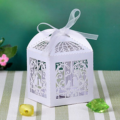 ing Sweets Love Bird Wedding Favor Candy Gifts Boxes Box Bomboniere with Ribbons Bridal Shower Wedding Party Favors White by Kanglo (Small Favor Boxen)