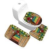Gnzoe Flanell Teppich/Toilettenmatte-Set Farbig Kiefer Muster Design Teppiche für Wohnzimmer Küche Bunt 80x50CM