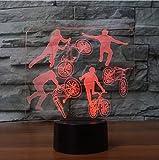 Nachtlicht LED Nachtlicht Led Schlafzimmer Nacht Dekor 3D Bmx Fahrer 7 Farbwechsel Fahrrad Limit Bewegungen Tischlampe Schlaf Beleuchtung Kinder Geschenke