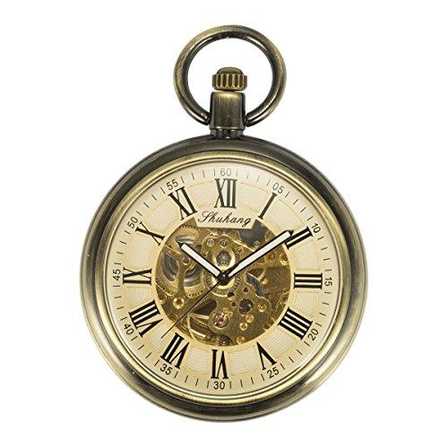 ManChDa montre de poche Visage ouvert Étui en bronze Skeleton Dial Cru Automatique Mécanique Chaîne + Boîte-cadeau
