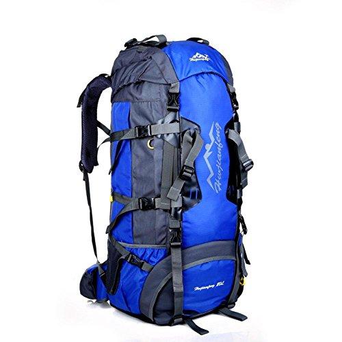 Clode® Outdoor Oxford Wanderrucksäcke Trekkingrucksäck Wandern Klettern Rucksack Freizeit Wasserdichte, 80 Liter,80 x 38 x 25cm Blau