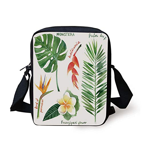 Plant,Bird of Paradise Palm Leaf and Assorted Exotic Flowers Watercolor Decorative,Coral Earth Yellow Fern Green Print Kids Crossbody Messenger Bag Purse -