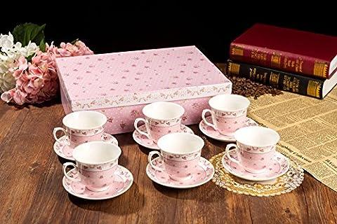 Vintage Tea Coffee Cups and saucers set 6 (12pcs) Porcelain Flora Rose Lavender gift box (Rose