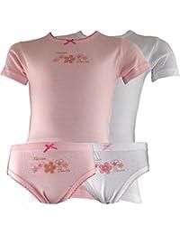 2er Set Mädchen Unterwäsche Halbarm, Blumenmuster 2xHemd, 2xSlip weiß/rosa