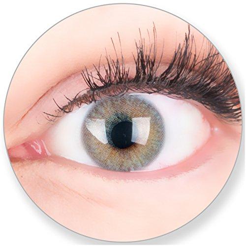 Graue Kontaktlinsen MIT und OHNE Stärke - für Braune Dunkelbraune und Schwarze Dunkle Augen - mit Kontaktlinsenbehälter. Zwei Farbige Seidengrau 3 Monatslinsen -4.0 Dioptrien