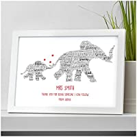 Thank You Teacher Gift Elephants Personalised TA Nursery School Leaving Gifts - Thank You Gifts for Teachers, Teaching Assistants, TA, Nursery Teachers - ANY RECIPIENT from ANY NAME - A5, A4, A3 Prints and Frames - FREE Personalisation