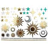 COKOHAPPY Metallic Temporäre Tattoo Sonne Mond Moon Stern Fake Gefälscht Schmuck Gold Silber