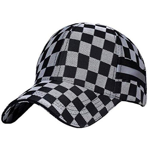 Ukerdo D'extérieur Plaid Dotées Chapeau pour Hommes Baseball Chapeau de Soleil (A)