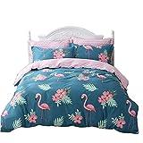 Seepong Flamingo Bettwäsche-Set Reversible Pink Bird Pattern & Teal Bettbezug-Set 3 teilig 100% Baumwolle (1 Bettbezug 135x200cm, 2 Kissen 80x80cm)