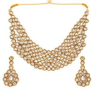 Touchstone Indian Kundan Look White Crystals Alloy Metal Grand Bridal Jewelry Necklace Set In Gold Tone For Women
