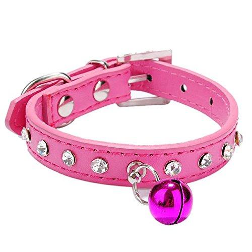 Hmeng Hundehalsband, Hunde Katze Welpen Wasserdicht Exquisite Halsband Halsbänder Einfarbig Strass Verstellbar Leder Kragen Mit Kleiner Glocke Halskette für Haustier Hunden Katzen (XS, Pink) -
