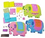 Libetui 4 Mosaik Bastelsets Bunte Elefanten Moosgummi zum selbst Gestalten ideal als Geschenk für Kinder Mitgebsel Gastgeschenke Kindergeburtstag