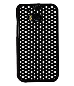 Fuson Premium Stars Pattern Metal Printed with Hard Plastic Back Case Cover for HTC One M8