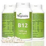 Vitamina B12 1000mcg de Vegavero | 365 tabletas dosis para un año | Comprimidos sublingual con Vitamina B6 y Vitamina B9 (ácido fólico) dosis alta | Vegano | Ganador del Eco-test 2015 cianocobalamina | 12 meses