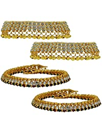 High Trendz Combo Of Two Bollywood Style Ethnic Gold Plated Anklets With Ghungroos, Cz Stones And Kundan Studded... - B06XJ6BQQK