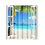 MagiDeal Multi-design Shower Curtain Waterproof Mildew Resistant with 12 Hooks - Window and Beach, 180cm