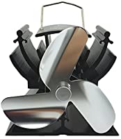 12.5cm Mini Heat Powered Stove Top Fan For Small Space Wood / Log Burner/Fireplace - Eco Friendly(Silver)