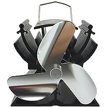 13 cm, ventilador de estufa funciona con altura de calor para pequeños/leña madera de espacio de respetuoso con el medio ambiente- plata