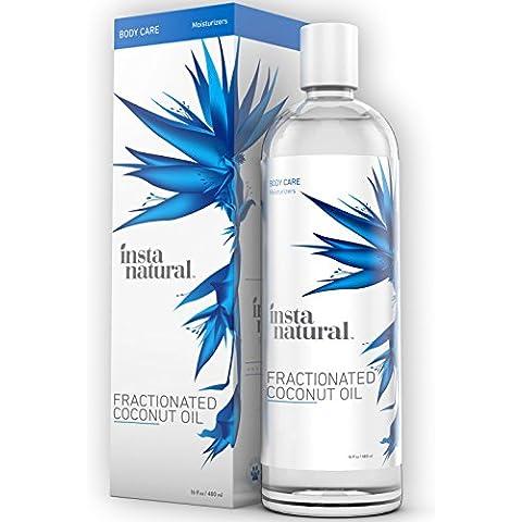 Aceite de Coco Fraccionado de InstaNatural – 100% puro – Humectante líquido para la piel, el rostro, el cuerpo y las uñas – Acondicionador para el cabello reseco y dañado – Usar como gel de afeitar, masaje y aceites de baño – Uso fácil para bebes – 480 ml