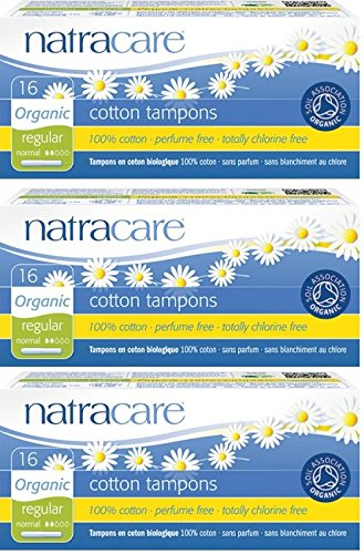 Packung mit 3 Natracare Organic Cotton Applikator Tampons Regular - Karton Applikator Tampons