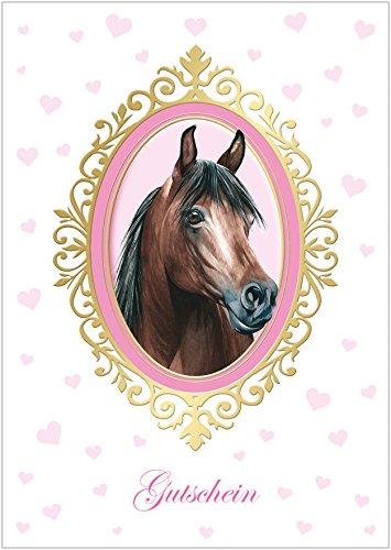 rußkarte zum Kinder Geburtstag. Glückwunschkarte, Geschenkgutschein mit rosa Herzchen für EIN Mädchen mit Einem Pferd in Einem Ornament-Rahmen in Gold/Gelb. (Mit Umschlag) (1) ()