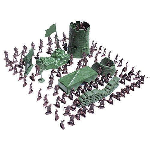 MagiDeal 100pcs / Lot Armee Kampf Spiel Spielzeug Soldat Set 3cm (Militär Figuren)
