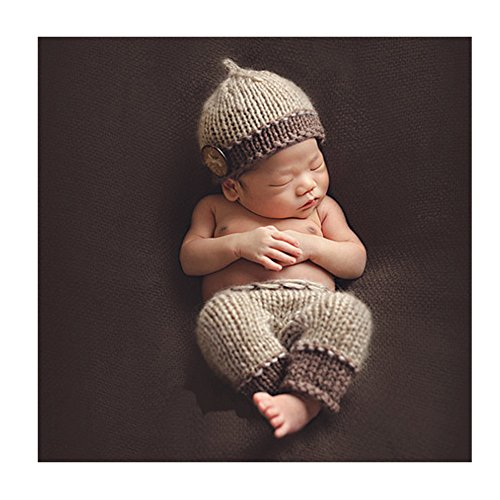 Fatto a mano Infant Newborn Baby Girl Boy Crochet Knit Cappello Hose Fotografia Puntelli Khaki Outfits costume