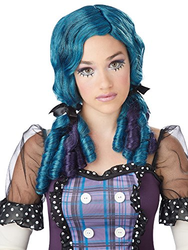 Teal and Purple Doll Curls Wig (Teal Perücke)