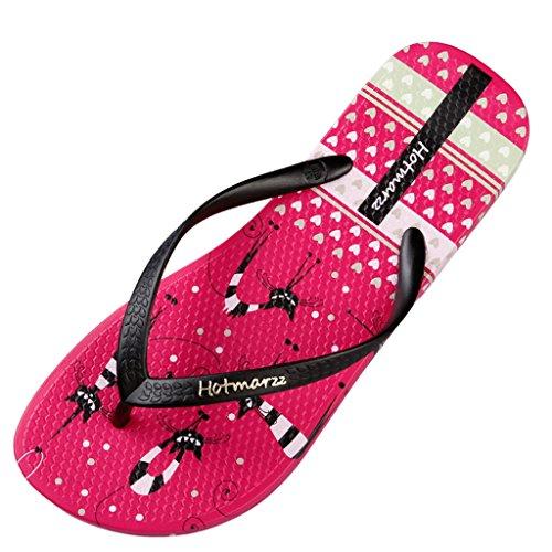 Hotmarzz Chanclas Playa Mujer Pantuflas Animales Linda Bote Gato Sandalias de Verano Mules Zapatillas de Casa Viajar Yoga Piscina Size 39 EU/40 CN, Rosa Rojo