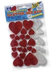 Bringmann Folia 23791 Lot de 40 stickers pailletés en forme de cœurs en caoutchouc-mousse, assortiment doré/argenté