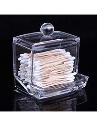 Acrílico transparente Q-tip bastoncillos organizador caja de almacenamiento de maquillaje cosméticos titular