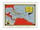 Pacifica Island Art Segelrouten der berühmten superschnellen Klipper Schiffe - Karibik - Vintage Retro Fluggesellschaft Reise Plakat c.1930 - Kunstdruck - 23cm x 31cm
