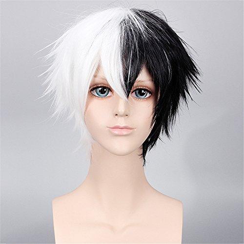 Männer Boys Mode 35cm kurze gerade Two Tone weiß und schwarz Ombre Hair Perücke hitzebeständige Faser synthetischen Party Cosplay (Two Tone Perücken)