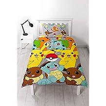Pokemon Catch - Juego de funda nórdica, cama individual, diseño de Pokémon repetido