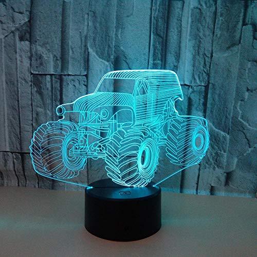 3D Bunte Nachtlicht Traktor 3D Bunte Touch 3D Vision Lampe Schwere Lkw Auto Usb 7 Farbe Tischlampe@Remote Control