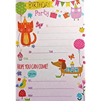 Pack of 20 Children's Party Invites - Owl Cat Dog Bunting Balloon
