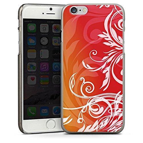 Apple iPhone 4 Housse Étui Silicone Coque Protection Fleurs Fleurs Guirlandes de fleurs CasDur anthracite clair