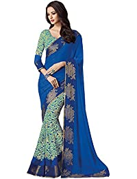Vipul Blue Georgette Printed Saree With Blouse Piece 20923