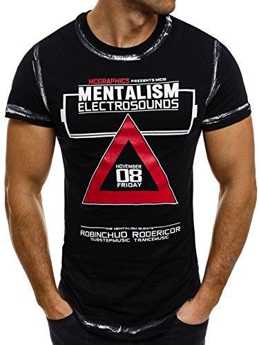 OZONEE Herren T-Shirt mit Motiv Kurzarm Rundhals Figurbetont J.STYLE SS025 Schwarz