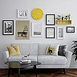 MEI Foto wand Fotorahmencollage Fotowand stellte einfache moderne Wanduhrkombination ein hölzernes Fotorahmen kreatives an der Wand befestigtes Wohnzimmer Hintergrundwanddekoration ( Farbe : Schwarz und weiß )