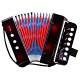 CAHAYA Mini Accordéon, 7-Touches 2 Basse, Instrument éducation Musicale Rhythm Band Jouets (Noir)