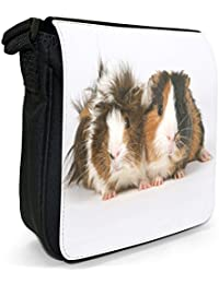 Guinea Pig Small Black Canvas Shoulder Bag / Handbag