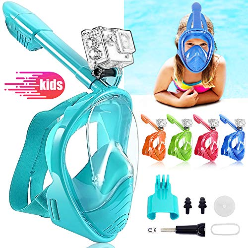 HINATAA Máscara de Buceo para Niños, 180 °Máscara de Snorkel de Cara Completa Infantil, Anti-vaho Anti-Fuga Máscara de Gafas Compatible con GoPro, Adecuado para Niños de 4 a 12 Años (Verde Azul)