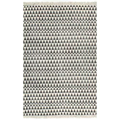 vidaXL Kelim Teppich Baumwolle 160x230cm Muster Weiß/Schwarz Handwebteppich - Kelim Teppiche Teppiche