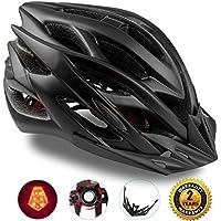 Shinmax Specializzata del Casco Bici con Luce di Sicurezza, Sport Regolabile in Bicicletta Casco della Bici Caschi da Bicicletta per Strada e Mountain Bike, Motociclo a Uomini & Donne di Età, la Gioventù - Racing, Protezione e Sicurezza (Nero)